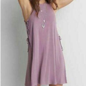 American Eagle Soft & Sexy Mauve Lace Up Dress